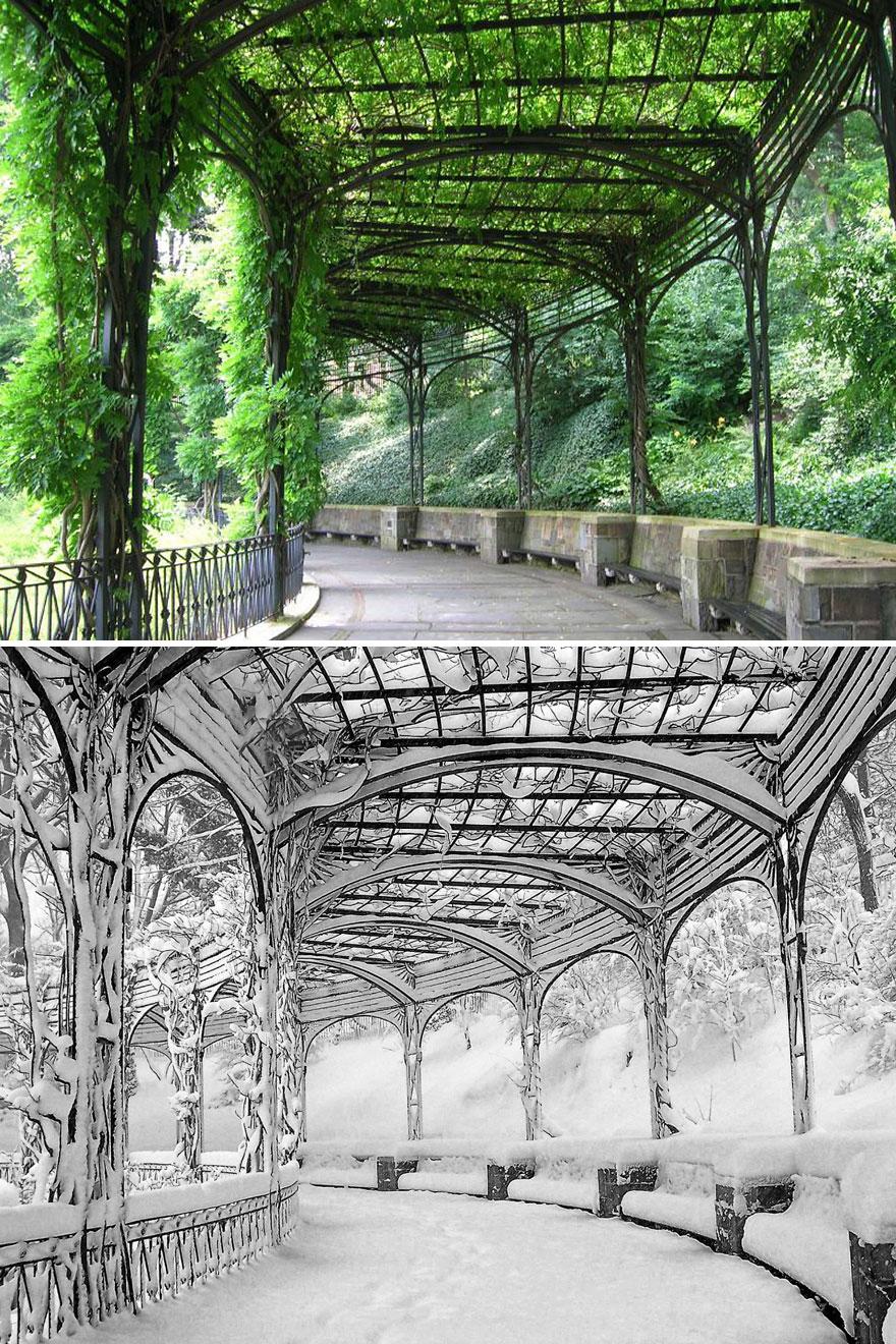 Pérgolas dos Jardins do Conservatório, Central Park, Nova Iorque, EUA