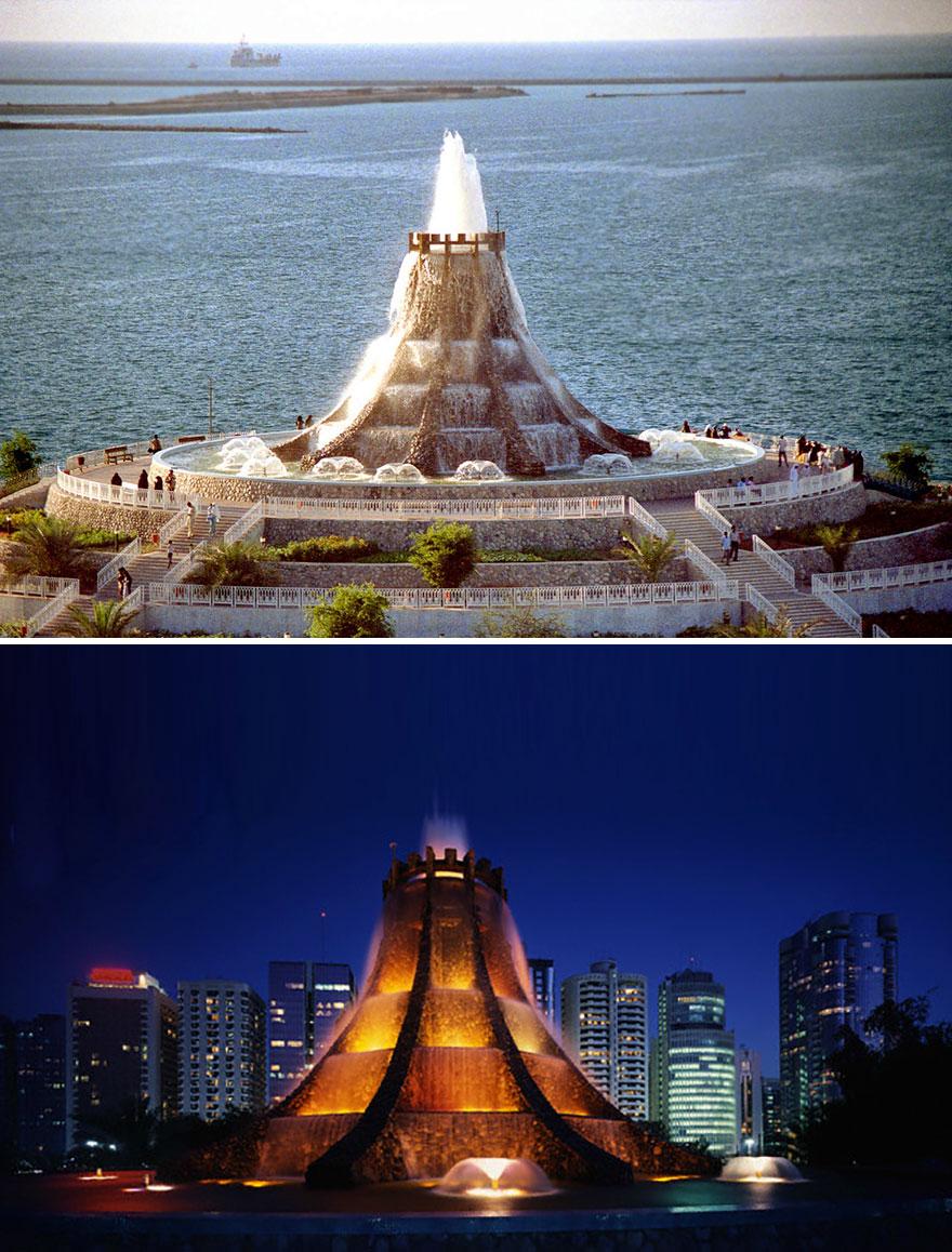 Fonte Volcano em Abu Dhabi, nos Emirados Árabes