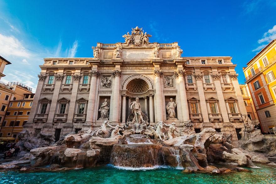 Fonte de Trevi em Roma, na Itália