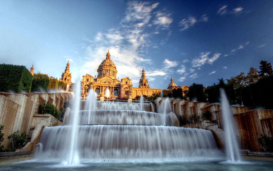 Fonte de Montjuïc Palace em Barcelona, na Espanha