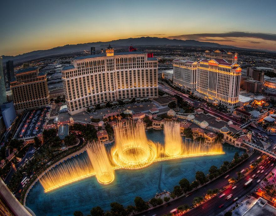 As fontes de Bellagio em Las Vegas, nos EUA