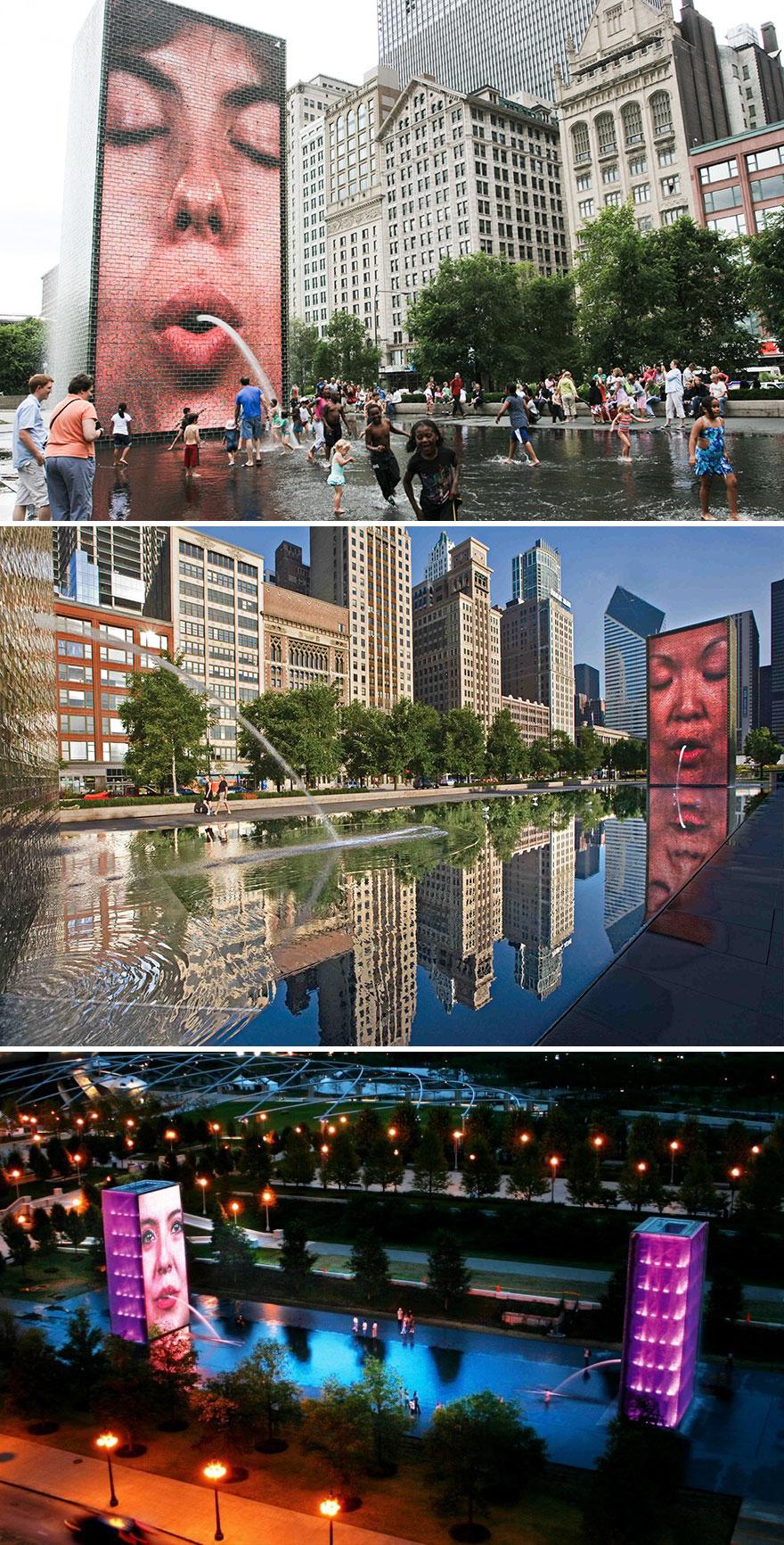 Fonte da Coroa em Chicago, nos EUA